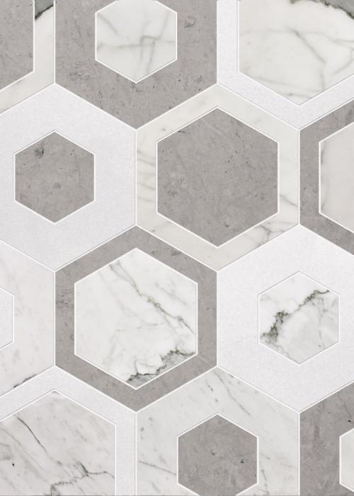 Charmont Calacatta Thassos Ocean Gray Hexagon Mid Century Tile